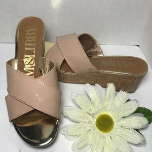 SAM & LIBBY Nude Gold Slip On Wedge Sandals
